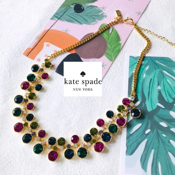 kate spade Jewelry - Kate Spade Gumdrop Multi Crystal Gold Necklace new